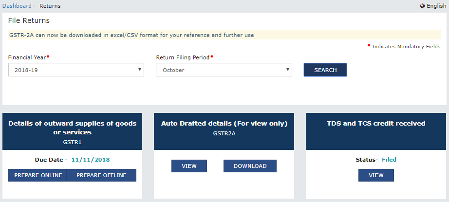 "Return dashboard after filing ""TDS and TCS Credit Received"" acceptance"