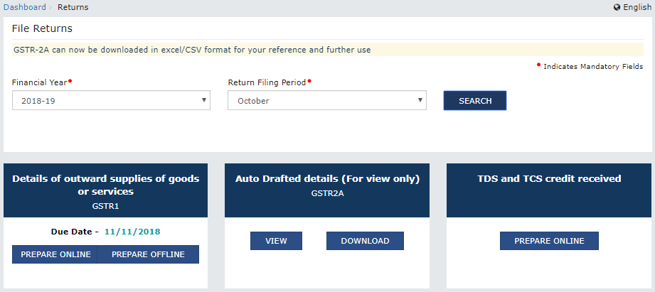 "Return Dashboard before accepting & filing ""TDS and TCS Credits received"""